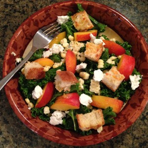 Kale Salad with Peaches, Sweet Corn, and Basil-Honey Vinaigrette