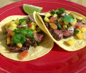 Steak Tacos with Peach Salsa + Beso Del Sol Sangria