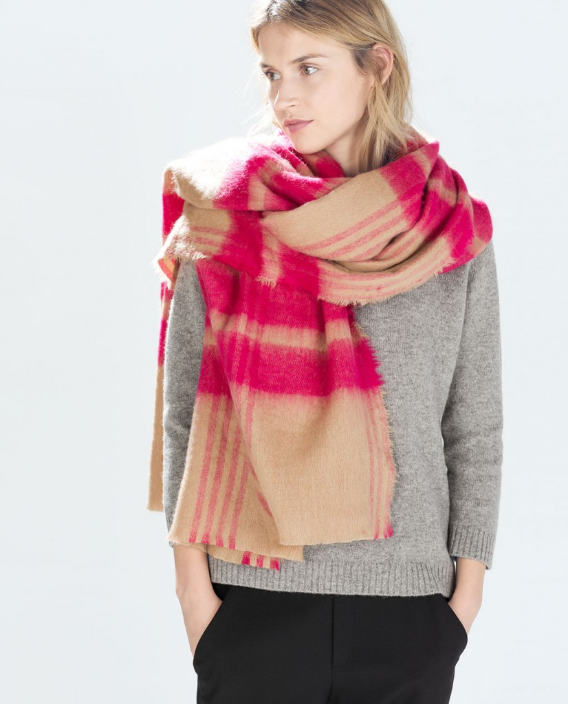 zara pink scarf