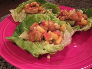 Shrimp Lettuce Wraps with Peach Salsa
