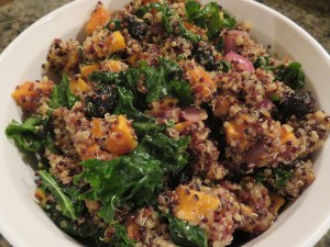 Butternut Squash, Kale, and Quinoa Salad with Maple Balsamic Dressing